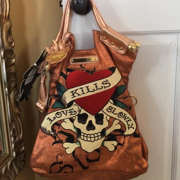 9df628075f Ed Hardy copper Tanya handbag 👜 NWT!!